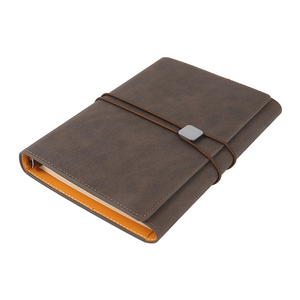 High quality promotional wholesale pu leather 6 holes ring binder elastic band travel journal notebook a5 and pen with pocket