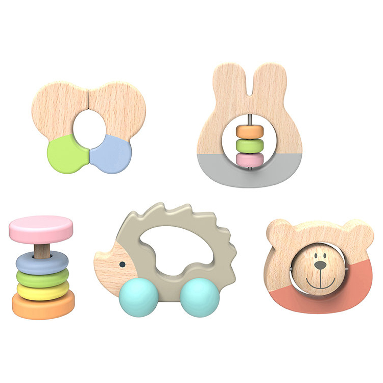 Hot Sale Nature Wood Toys for Kids Wooden Baby Rattle Set