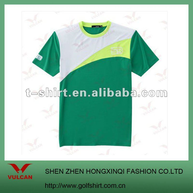 2012 New Style Round Neck Green Promotional T-shirt with printed logo
