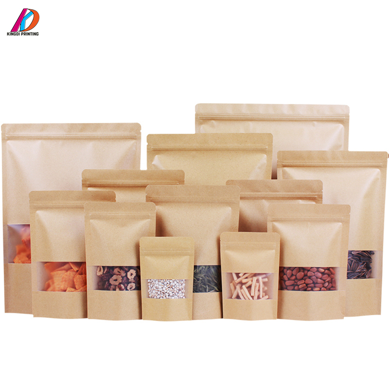 Food Grade Stand Up Zip Lock  Kraft Paper Bag with Clear Window