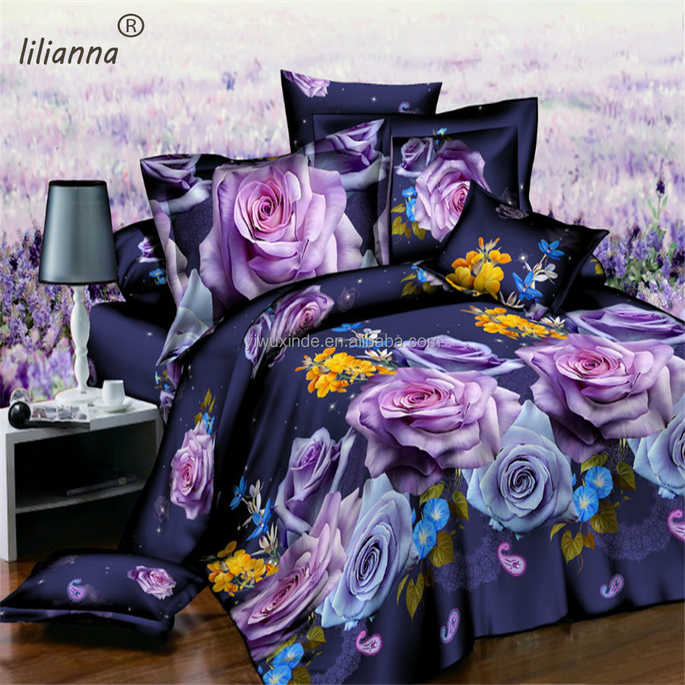 Wholesale 3D luxury bedding sets dark purple rose flower bedding sets