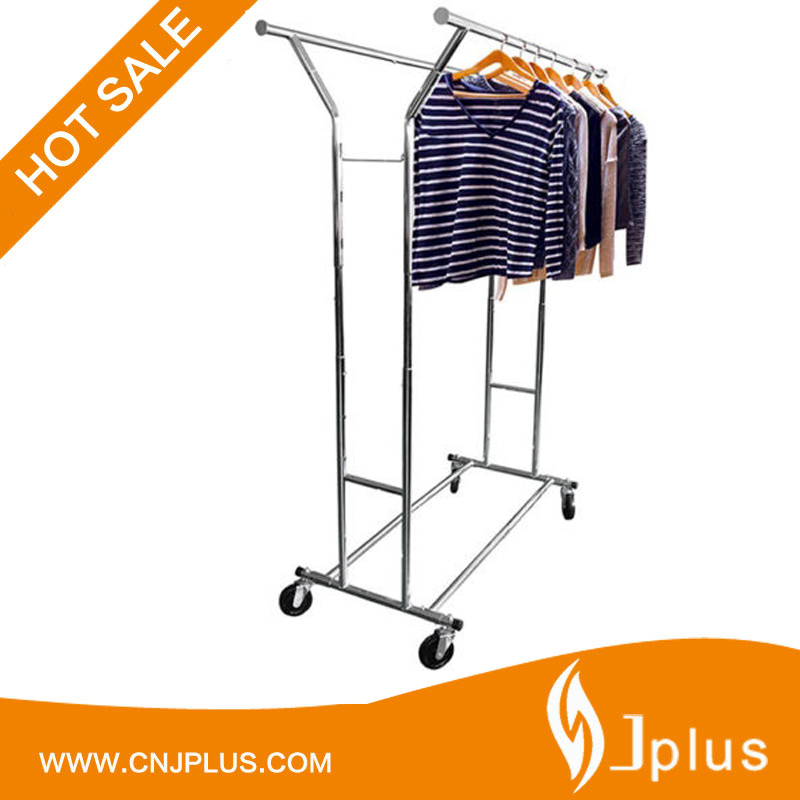 JP-CR408 DIY Double Rod Movable Trolley Steel Hanging Garment Rack