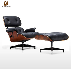 European style designer furniture cherry walnut wood fancy charles lounge chair with ottoman