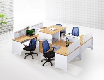4 persons l shape wood table office partition workstation desk divider