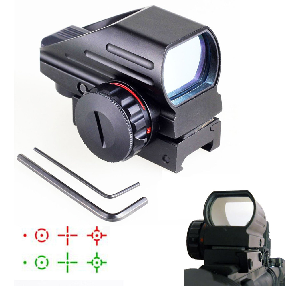 Hunting Optics 1x22x33 Compact Reflex Red Green Dot Sight scope 4 Reticle Sight for Airsoft With Weaver 20mm Mount