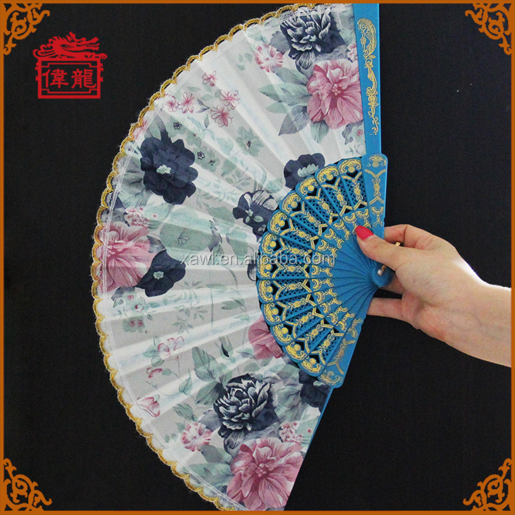 promotional plastic and fabric folding hand fans in flower design GYS907
