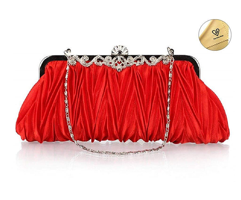 6f7424b1a80b Get Quotations · Tiny Chou Fashion Women s Evening Bag Satin Clutch Wallet  Crossbody Vintage Pleated Handbag