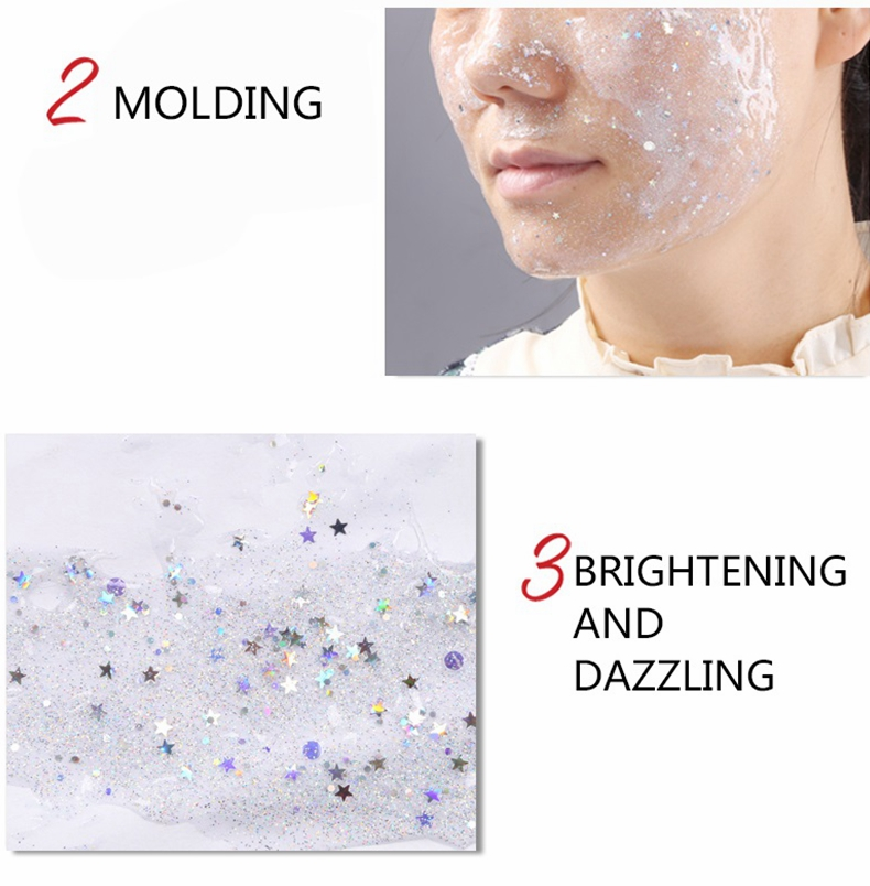 Pore Refining Mattifing Clarifying Smoother Brighter Face Peel Off Star Mask Silver Glitter Mask