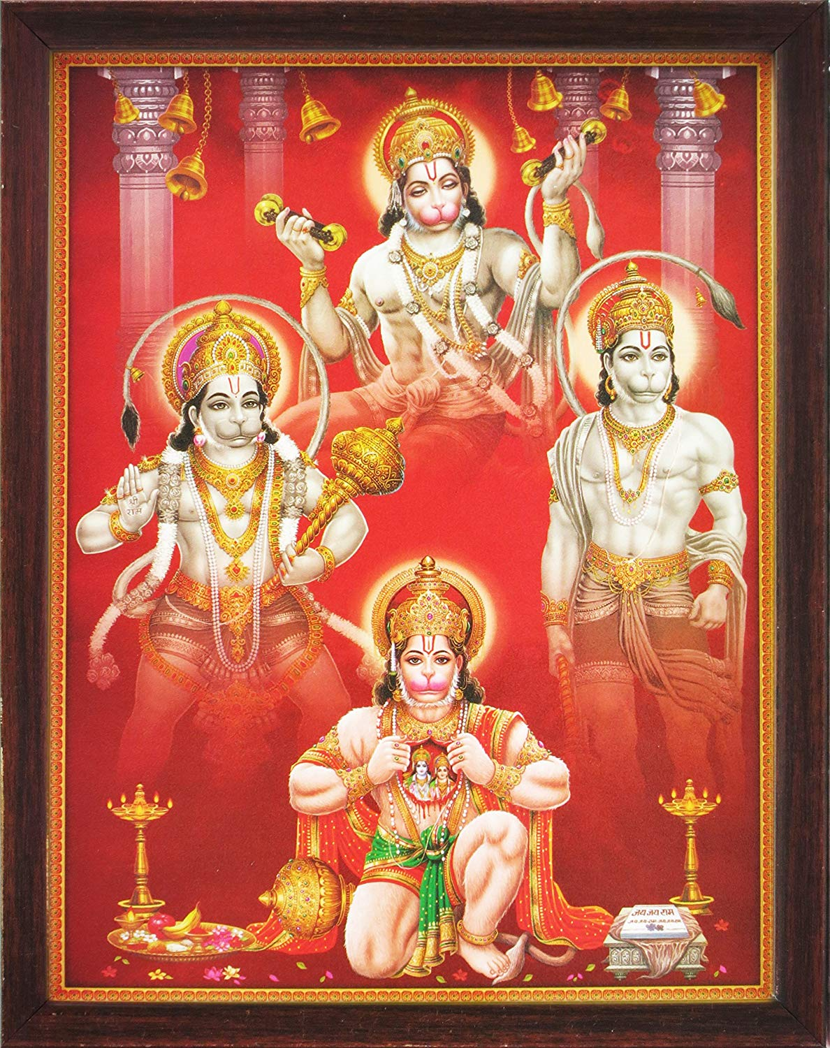 Hindu Lord Hanuman in Various Posture, a Holy Hindu Religious Poster Painting with Frame for Worship Purpose