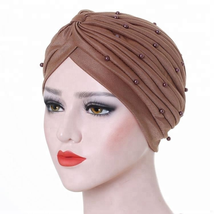 Neue Outdoor Stretchy Twist Turban Yoga Sport Kopf Wrap Perle Stirnbänder Chemo Kappe Für Frauen