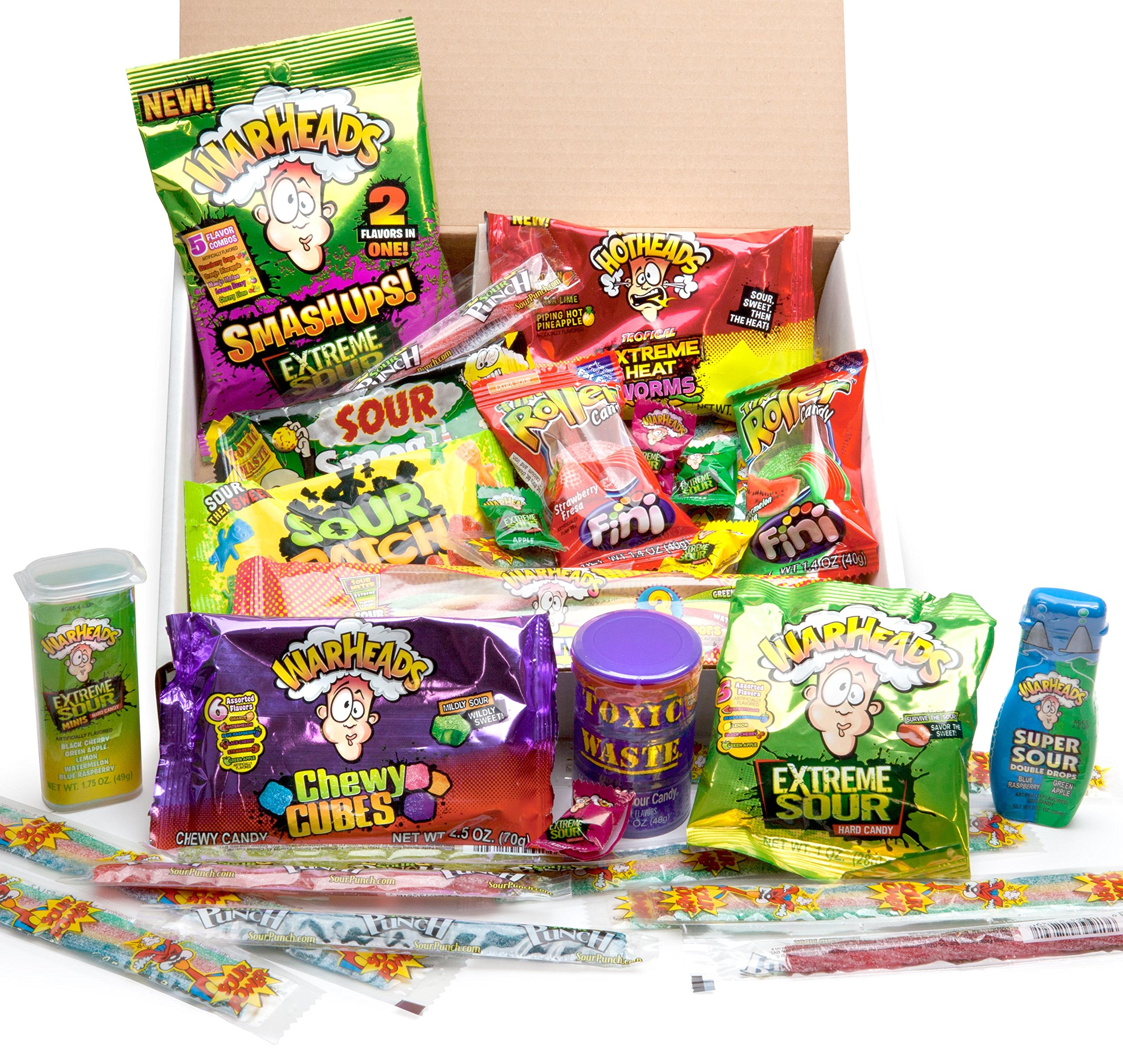 Extreme Sour Candy Assortment - Filled With 42 Individual Packages - Featuring (Warheads, Sour Patch kids, Toxic Waste, Sour Belts, Sour Punch Straws, Liquid Drops & More) Great For All Ages