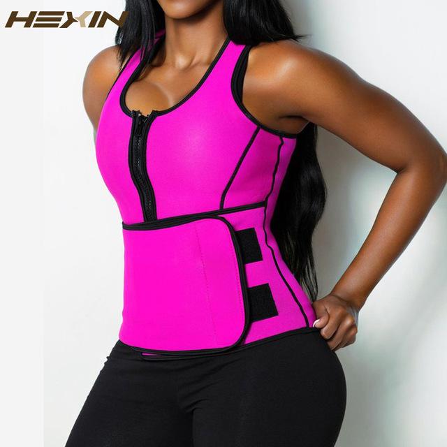 ac1c7a0e50c8a HEXIN Neoprene Sauna Waist Trainer Vest Summer Workout Shaperwear Slimming  Adjustable Sweat Belt Body Shaper 6X