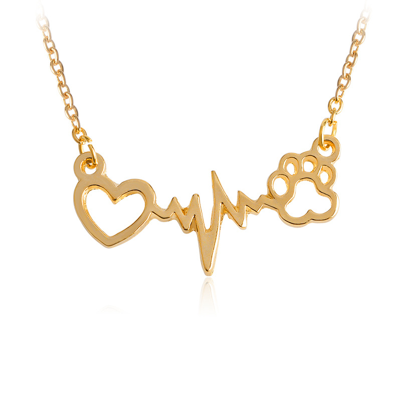 Hot sale fashion jewelry dog paw print neckalce,heart shape electrocardiogram pendant necklace choker necklace TS1077