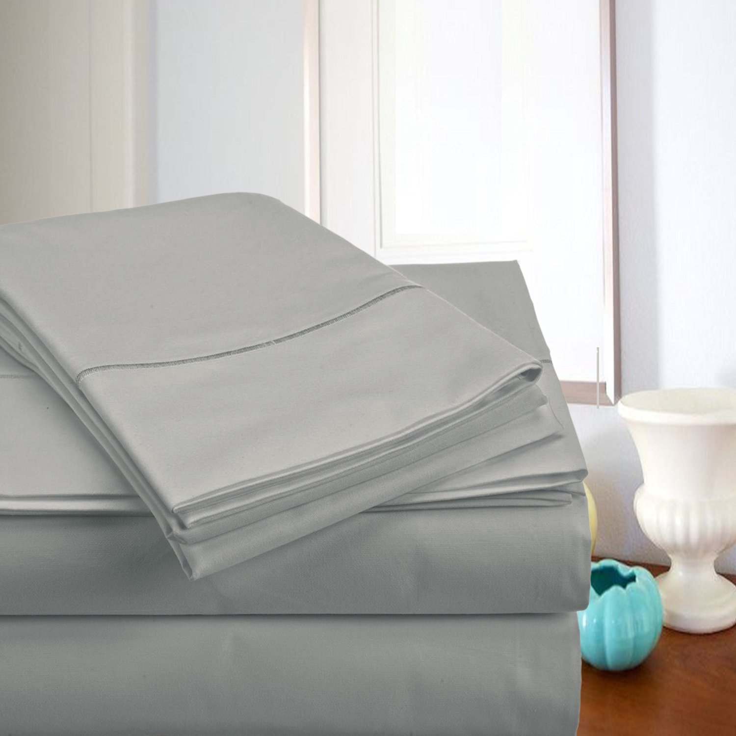 Top Sellers - MEGA SALE TODAY! #1 Rated Luxury Sheets On Amazon-Highest Quality! Luxury 800 Thread count 100% Egyptian Cotton Ultra Soft Super Combed Yarns 4 Piece Sheet Set, Queen - Silver