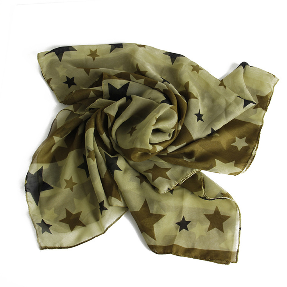2015 Fashion Girl's Sweet Army Green Wild Soft Silk Scarves Shawls Lovely Printing Five-Pointed Star Fall Scarf For Women 16A075