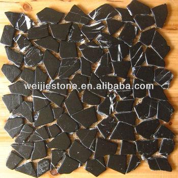 Black Marquina Marble Random Broken Mosaic Tile Pattern