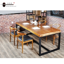 Retro Industrial Style Vintage Solid Wooden Top Hotel Table