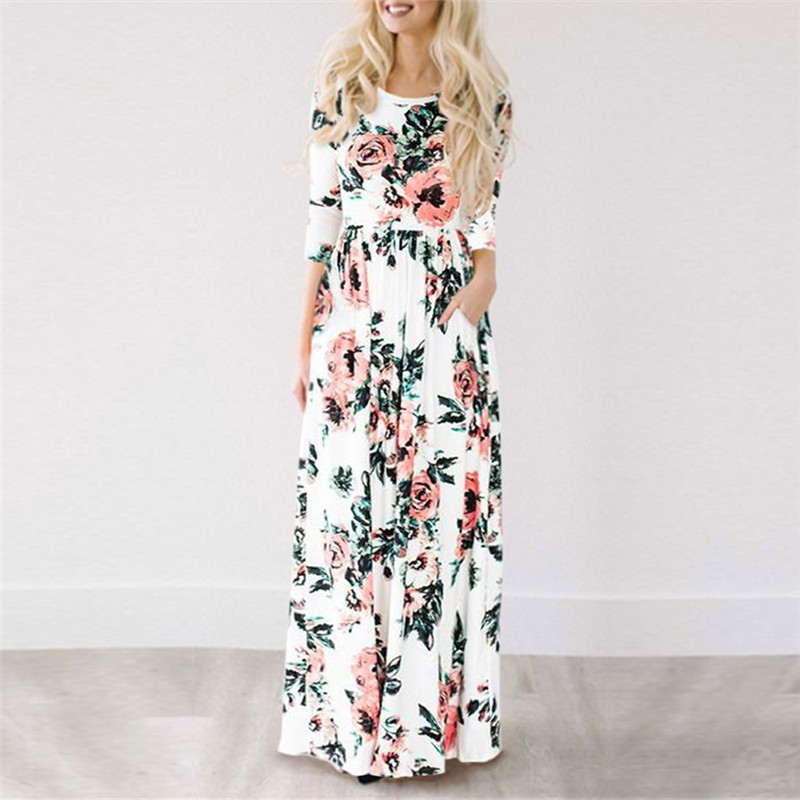 7f9b20488b55f Three quarter sleeve print maxi dress. 6193. 123558.  0e98cefba1205f0a020289921228b32d11