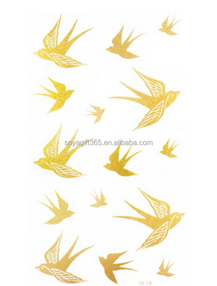 Gold 15pcs Swallows Waterproof Metallic Temporary Bling Tattoo Sticker