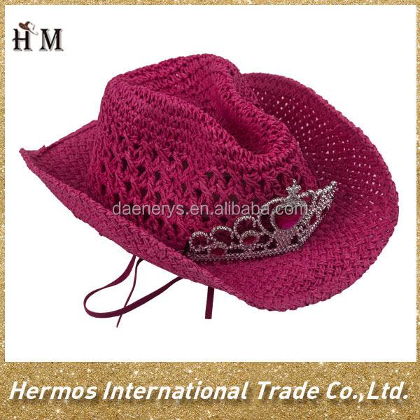 Hermosos Colores Niñas Tejer Paja De Papel Sombrero Mayor Vaquero De ...