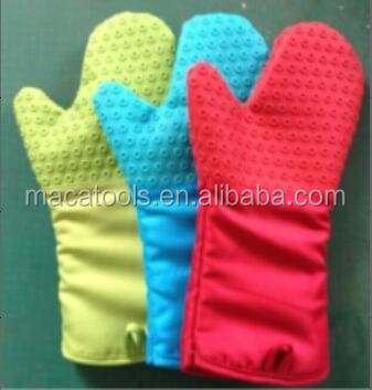 14 Inch Cotton BBQ Gloves Heat Resistant Cotton Oven Mitts Heat Resistant Gloves with Quilted Liner for Extra Protection