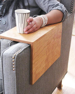 Wood home furniture arm rest table for sofa end table