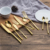 Wholesale luxury stainless steel gold plated wedding dinnerware cutlery set including knife fork and spoon