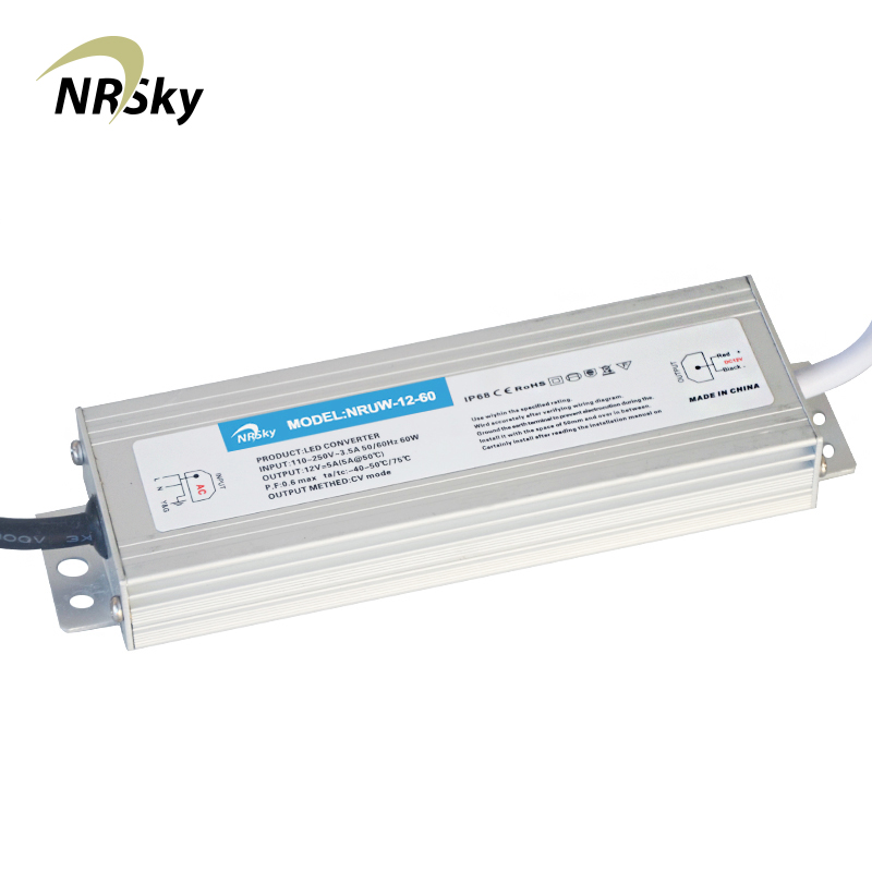 NRUW-12-60 IP67 12A 3 V 60 W Tahan Air Tegangan Konstan LED Driver Power Supply