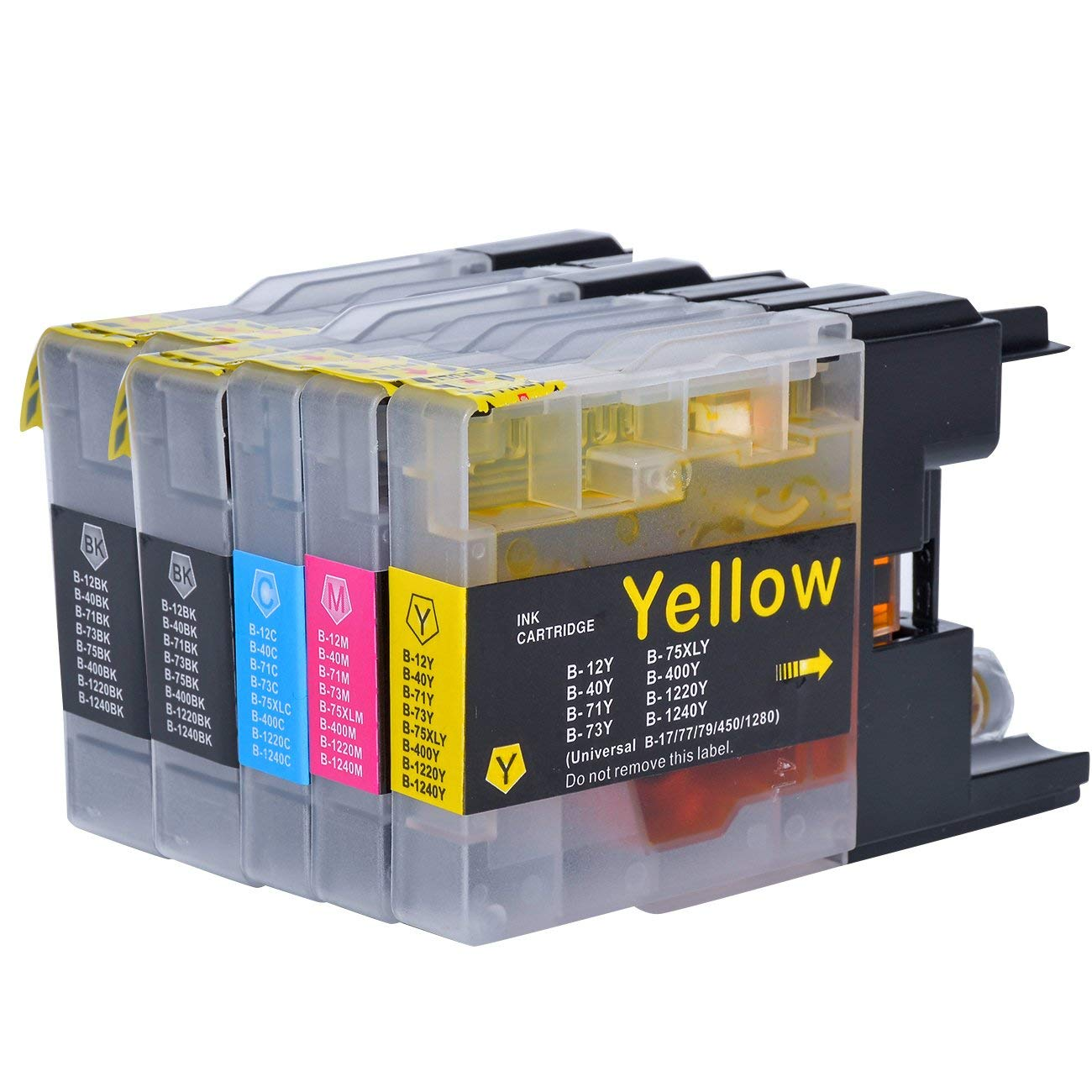 Get Quotations · 5 Pack Compatible with Brother LC75 LC71 Ink Cartridges  LC-71BK LC-75BK (