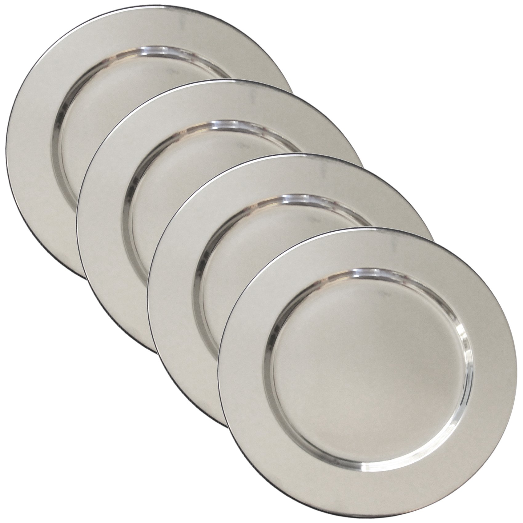 """Set of 4 Stainless Steel Charger Plates - Handmade 12"""" Service Plates, Accent Plates, Decorative Tray & Hors d'oeuvre Tray"""