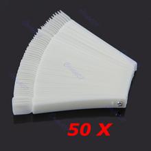 Hot Sell 50x Fan-shaped Natural False Nail Art Tips Sticks Polish Display Free Shipping