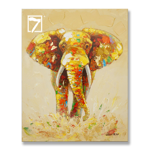Animal Art Paintings Handmade Bright-coloured Elephant Wildlife Oil Paintings for Wall Decor