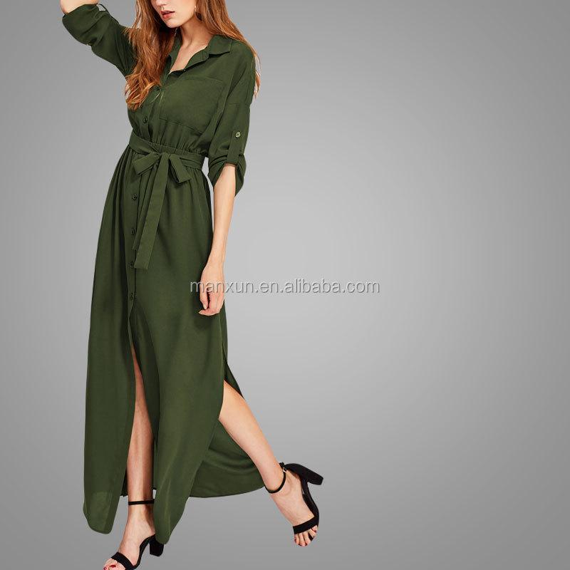 716c0a83881 Wholesale Custom Womens Army Green Kebaya Button Oversize Casual Long Abaya Roll  Tab Sleeve Side Slit