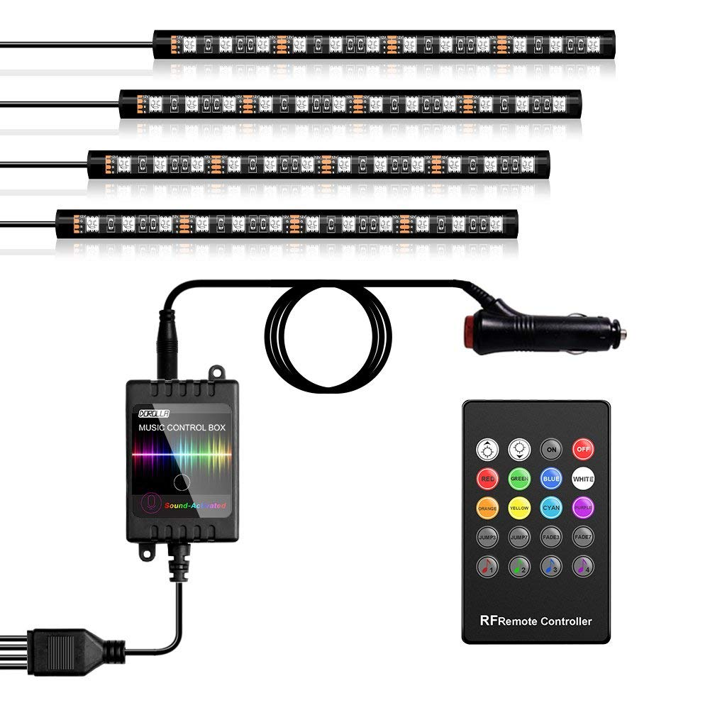 Dorolla RGB Led Car Lights Interior, IP65 Waterproof LED Strip Lighting Kit with Remote Control and Car Charger, Color Changing by Sync to Music