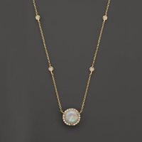 2018 gold plated 925 sterling silver dainty delicate cz station halo opal main stone wedding silver necklace