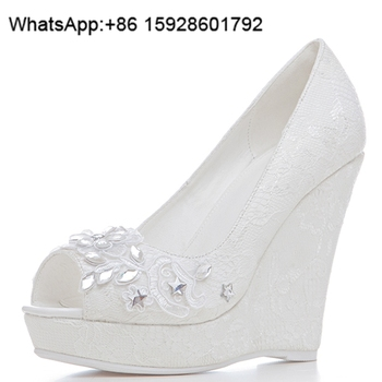 Alibaba China Women Shoes Lace Open Toe Crystal Wedge Wedding Shoes OCL50