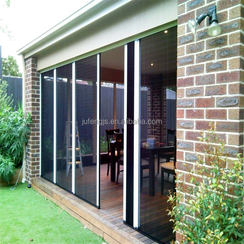 Polyester pleated mesh trackless retractable fly screen door
