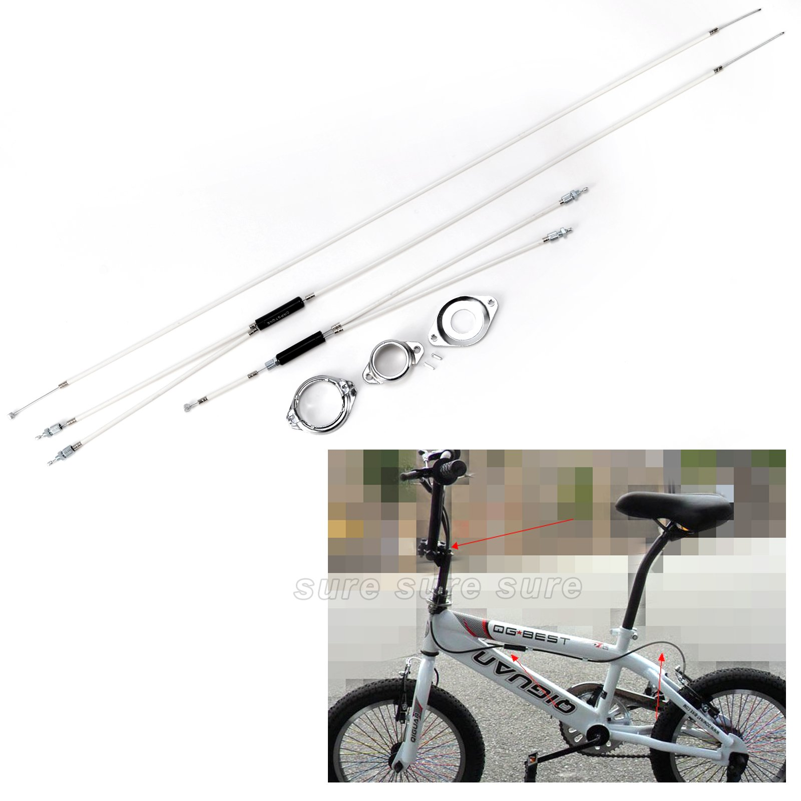 BMX Gyro Brake Cables COMPLETE SET Front Upper + Lower Spinner Rotor Rear
