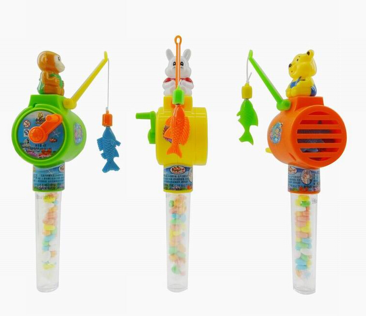 Toy Candy 2019 Best Seller Plastic Cartoon Animal Magnetic Fishing Candy Toys