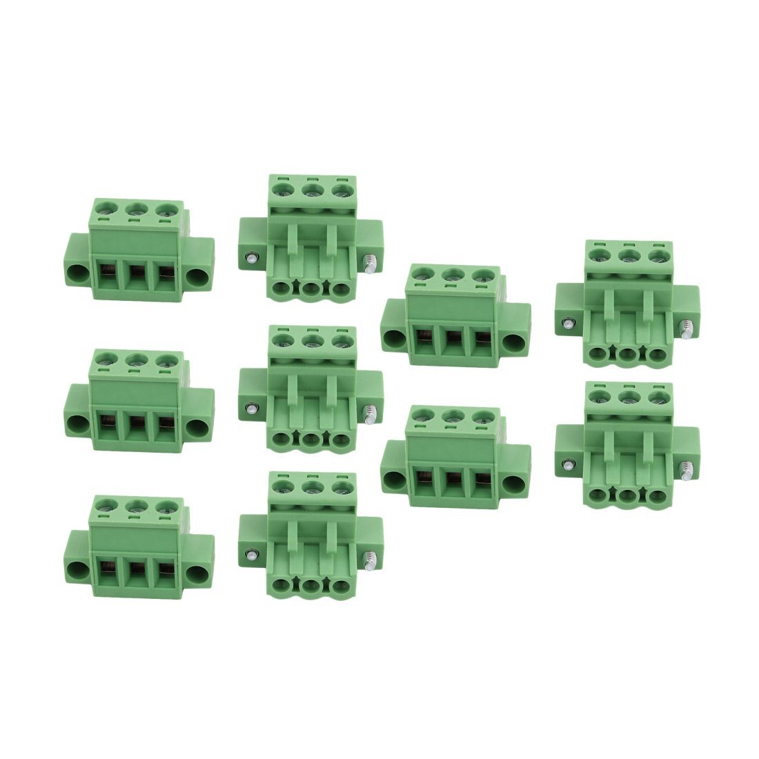 uxcell 10Pcs LC1M AC300V 15A 5.0mm Pitch 3P PCB Mount Terminal Block Wire Connector