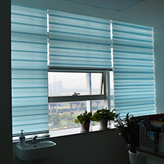 Office curtain shades fabric cover rainbow colored zebra blinds