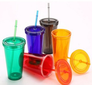 16oz double wall insulated acrylic plastic tumbler with promotional paper insert,ice cold cup with straw