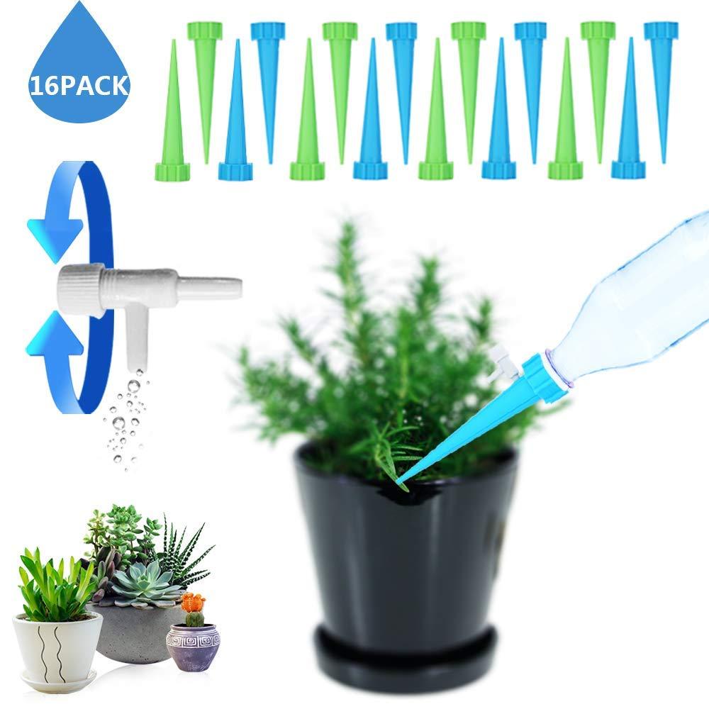 G.a HOMEFAVOR Plant Self Watering Spikes, Automatic Vacation Drip Irrigation Watering Devices with Slow Release Control Valve Switch, Nannies for Indoor & Outdoor Home Office Plants, 16 Pack