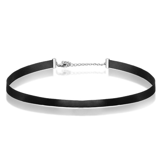 925 Sterling <strong>Silver</strong> & Black Braid Ribbon Choker Necklace For Women Chocker Colar Jewelry Accessories 31CM+7CM Choker Necklace