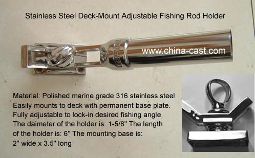 4 x HEAVY DUTY CAST 316 MARINE GRADE STAINLESS STEEL FISHING BOAT ROD HOLDERS