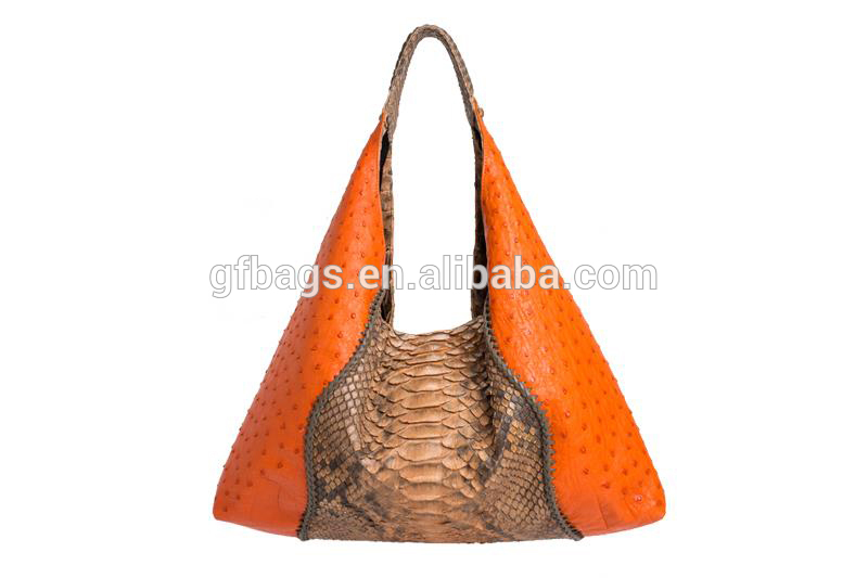2020 Ladies High Quality Ostrich  Anaconda Skin Shoulder Bag