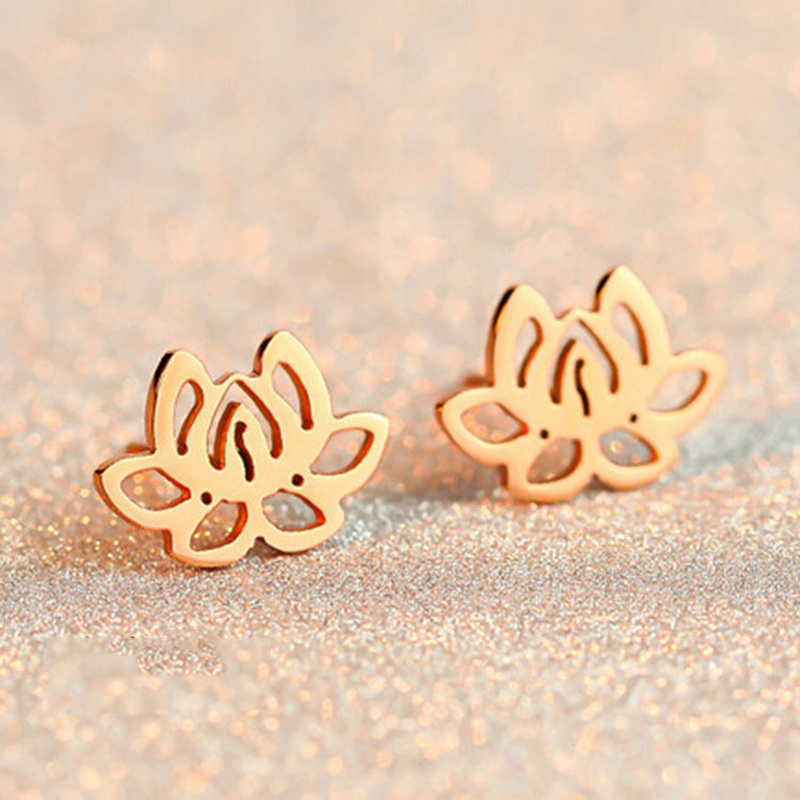 Elegant Cheap Women Jewelry High Quality Rose Gold Plated Stainless Steel Stud Earring Flower Earring