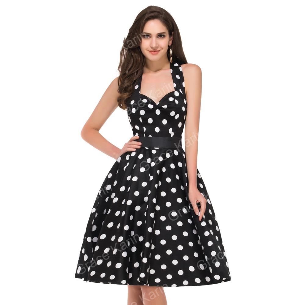 Grace Karin Retro Style Cotton 50s Polka Dots Dress 1950s