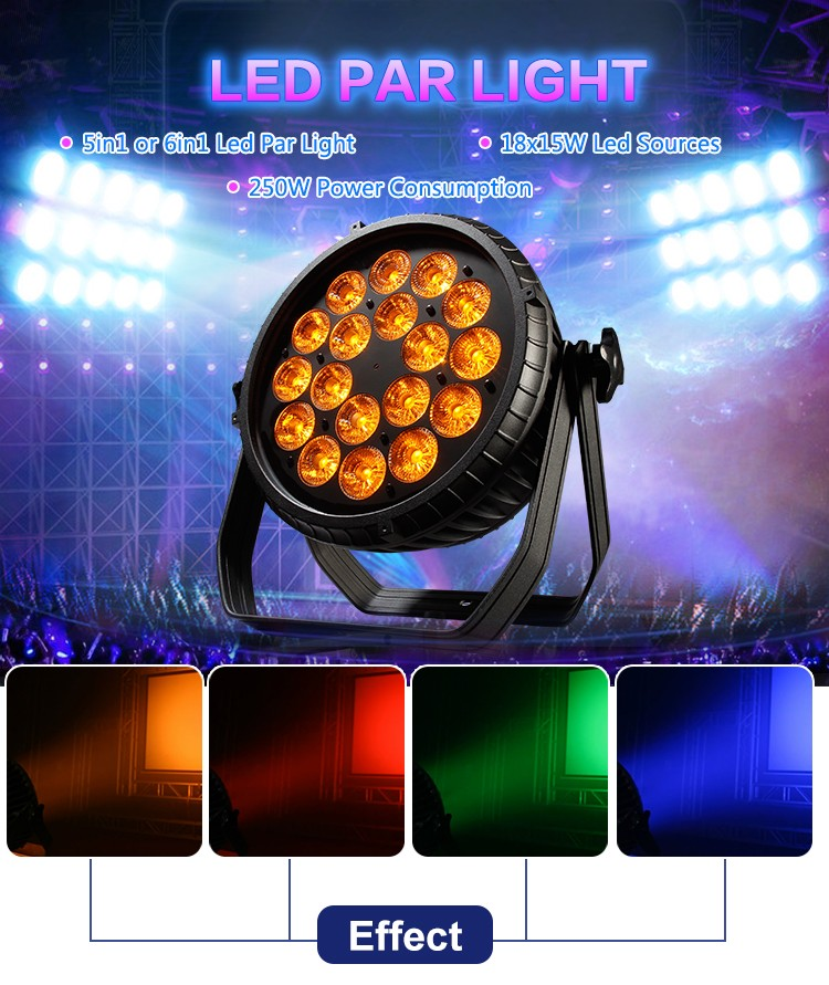 guangzhou manufacturer dmx stage lighting 18x15w 6 in1 rgbwa uv led par light for disco