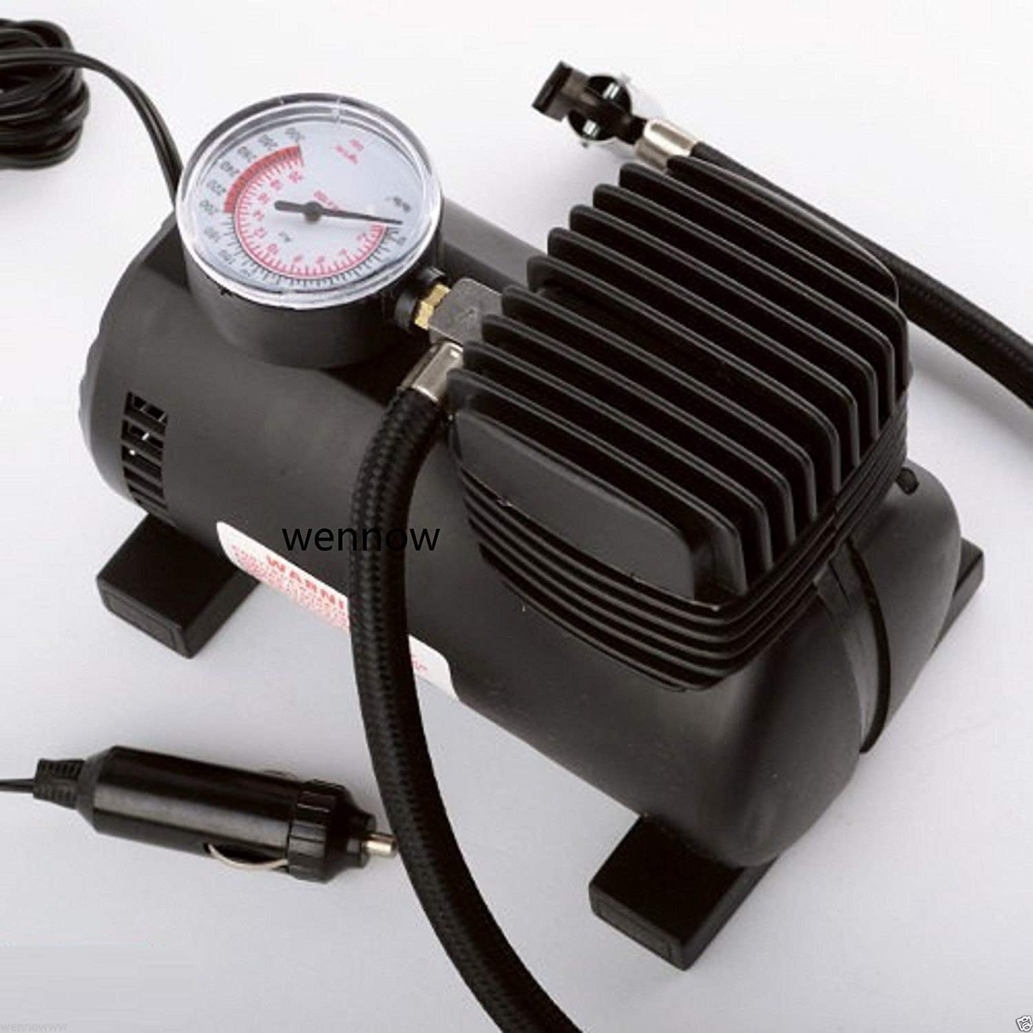 Wennow New 280 PSI 12V Car Auto Portable Pump Tire Inflator Mini Air Compressor w/gauge